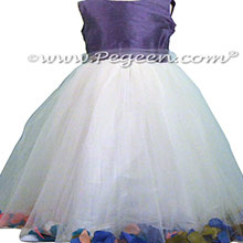 Periwinkle Flower Girl Dresses with mulitiple shades of petals Style 333 by pegeen