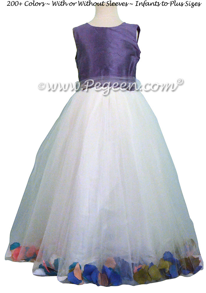Periwinkle Flower Girl Dresses with Petals - Style 333