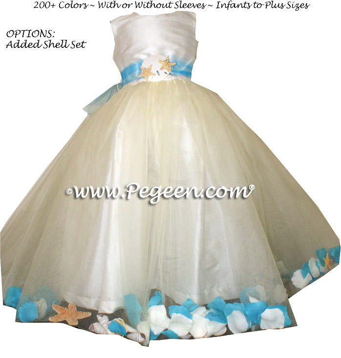 Ivory and turquoise beach flower girl dresses with sea for Flower girl dress for beach wedding