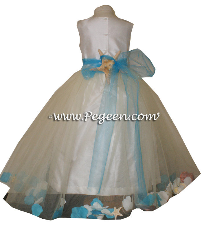 Tiffany Blue ballerina style Flower Girl Dresses with sea shell in her tulle