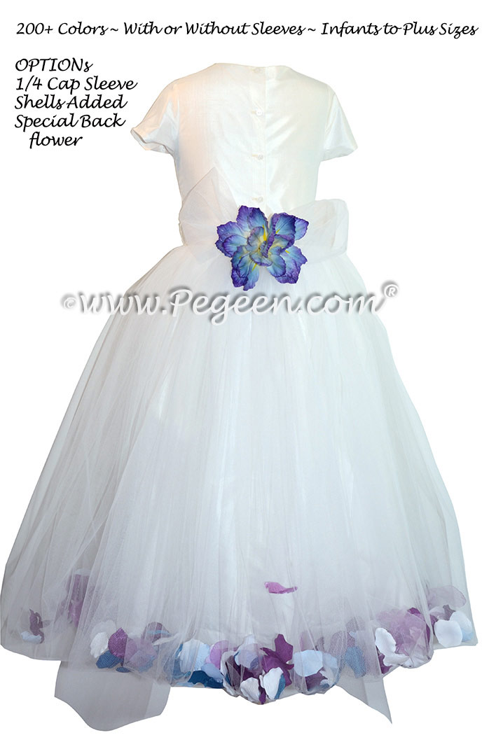 White silk and tulle flower girl dresses with Sea Shells