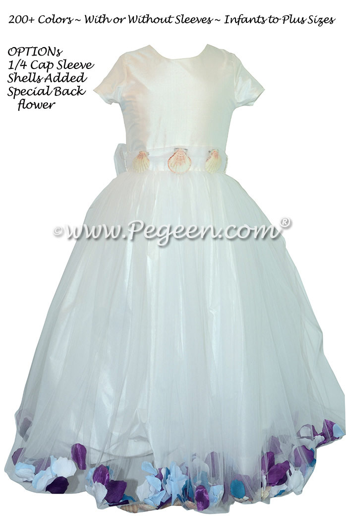 Antique White Flower Girl Dresses with Petals and Sea Shells