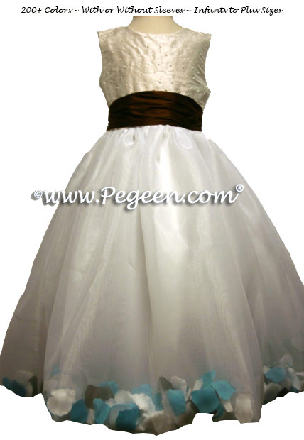 Chocolate brown, Tiffany Blue and New Ivory Flower Girl Dresses with Petals in the Skirt