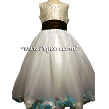 chocolate brown and tiffany petal flower girl dresses
