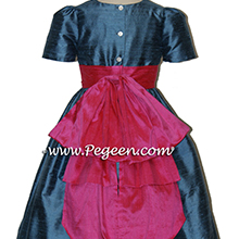 ARIAL BLUE AND SHOCK PINK flower girl dresses