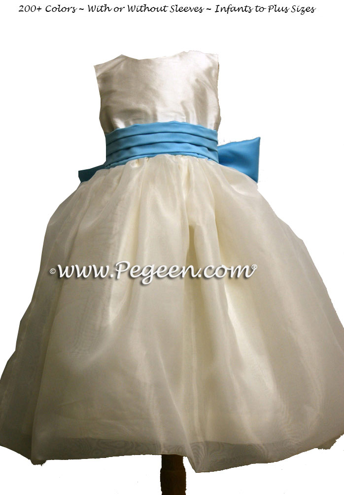 Bahama Breeze and New Ivory Silk and Organza Flower Girl Dresses