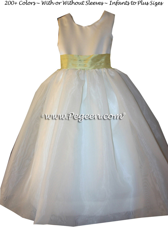 Sunflower yellow and white Flower Girl Dresses Classic Style 326