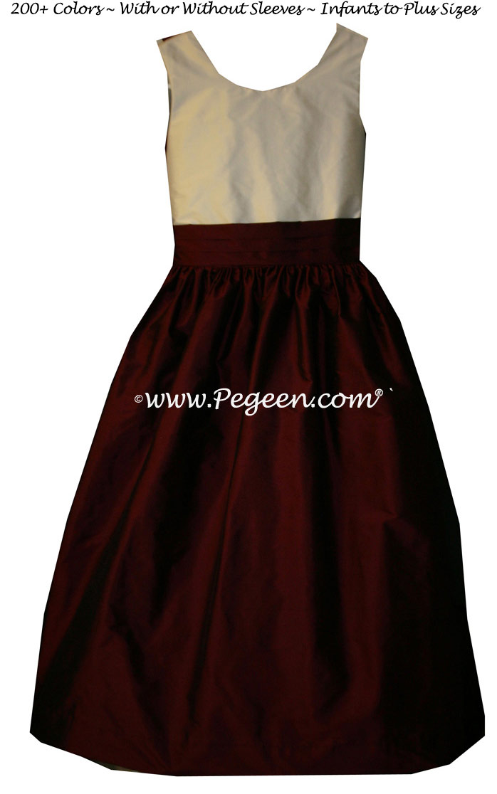Custom Burgundy and New Ivory flower girl and Jr. Bridesmaids dresses in silk
