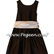 chocolate brown and gold Flower Girl Dresses - PEGEEN