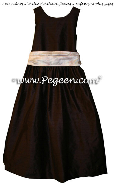 Semi-Sweet Chocolate with Gingham Sash Silk flower girl dresses for your wedding party