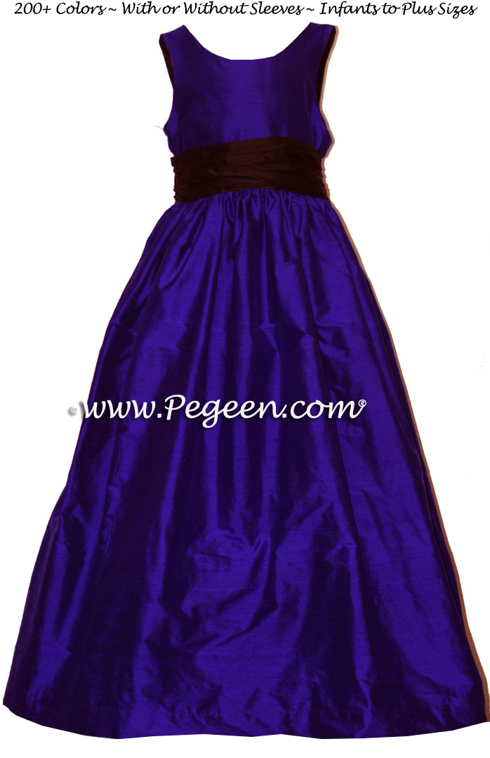 Silk Flower Girl Dresses in Royal Purple and Black -  Classic Style 388