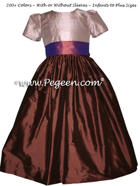 Jim Hjelm Matching Flower Girl Dresses in Raisin Style 383