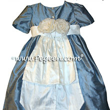 FRENCH BLUE CUSTOM FLOWER GIRL DRESSES