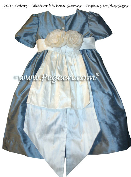 French Blue and Antique White Flower Girl Dresses and back flowers