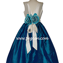 ivory and dark cyan SILK CUSTOM Flower Girl Dresses