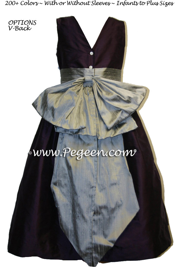 Dark Eggplant and Silver gray junior bridesmaids dress