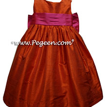 orange and shocking pink toddler flower girl dresses