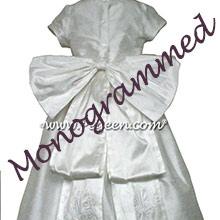 Antique White Silk Monogrammed Flower Girl Dresses PEGEEN Style 345