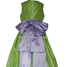 Apple Green and Wisteria Silk Flower Girl Dresses Style 345