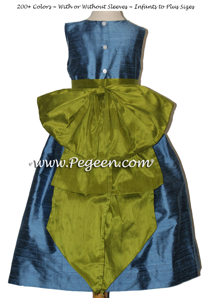 Arial blue and grass green flower girl dresses to match Ann Taylor