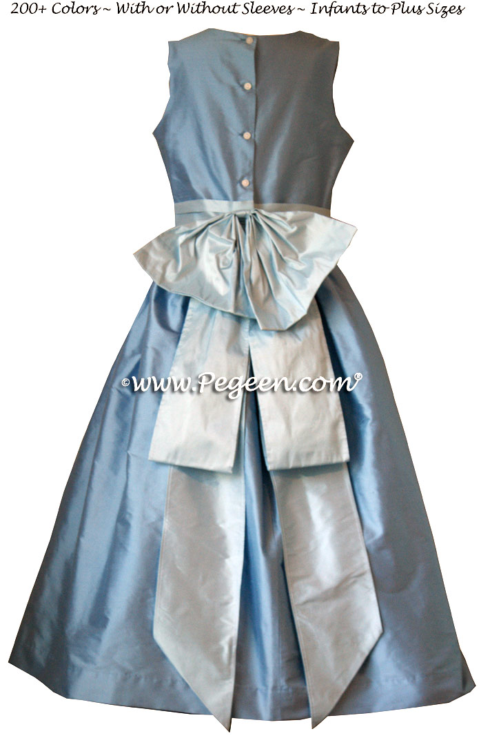 Baby Blue and Steele Blue silk flower girl dresses