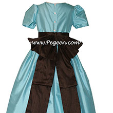 Flower Girl Dresses in bahama breeze turquoise and Chocolate