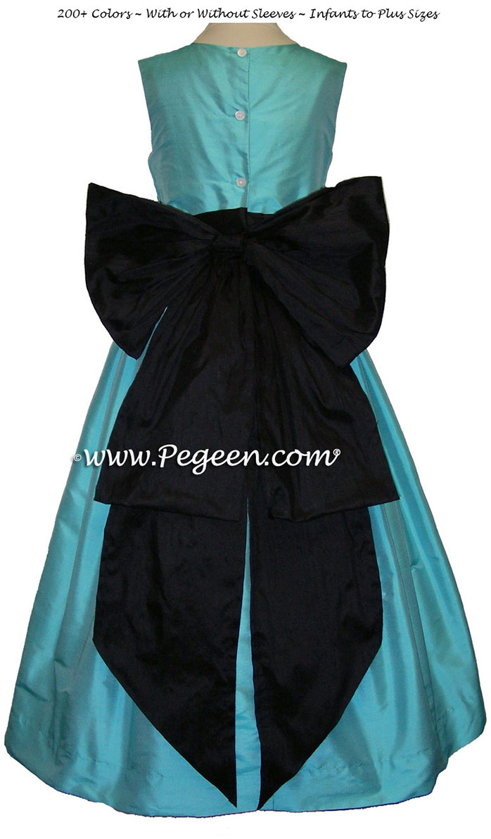 Flower girl dress in Bahama Breeze (turquoise) and black with Cinderella Bow