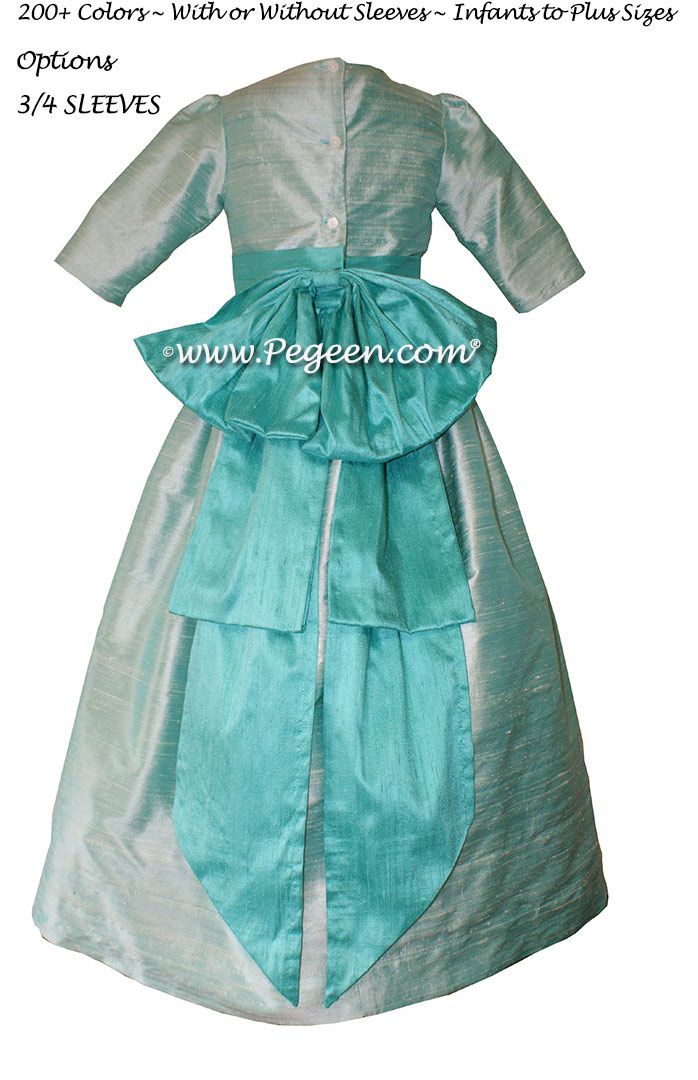Seaside and Paradise (light teal and aqua) flower girl dresses