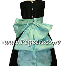 black and aqua flower girl dresses