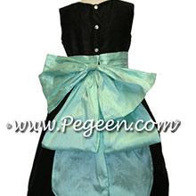 black and aqua flower girl dresses