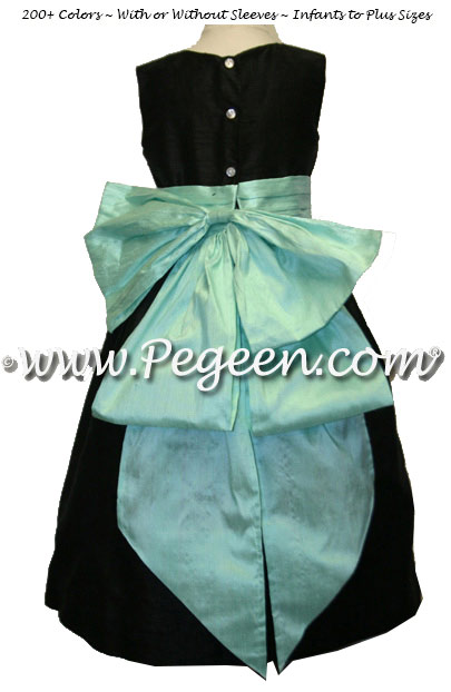 Black and Aqua Silk flower girl dress with Cinderella Bow