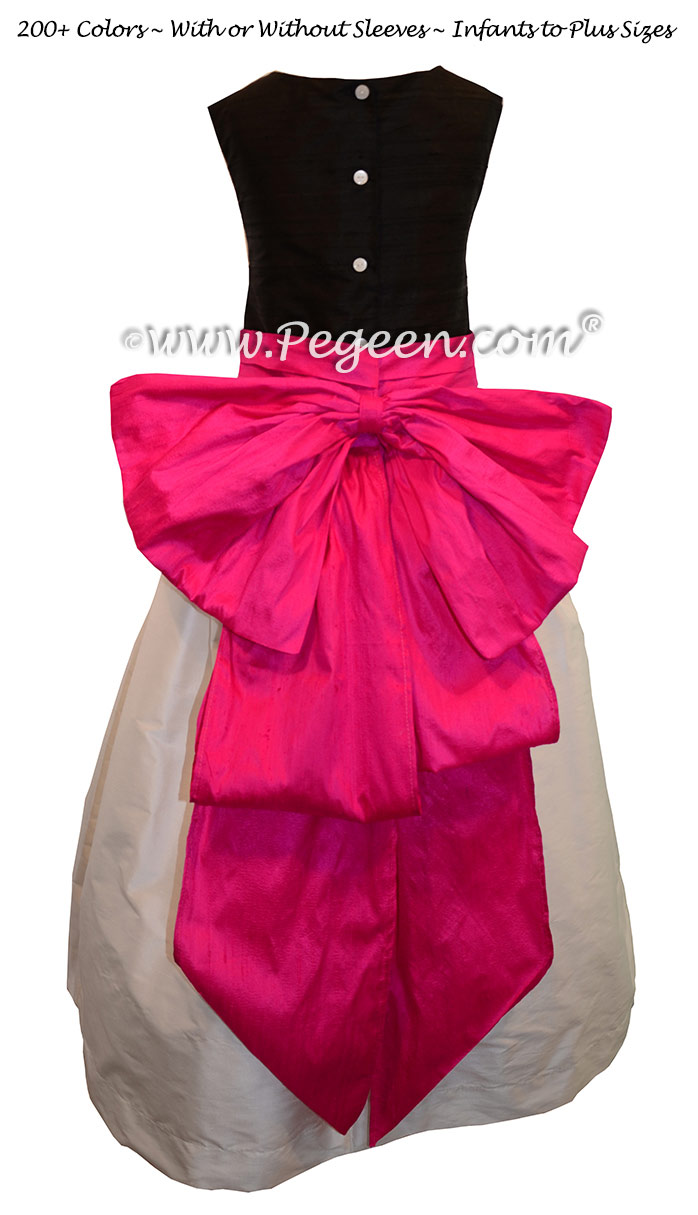 Antique White, Black and Luscious Pink silk flower girl dresses