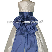 Antique White and Blueberry silk Flower Girl Dress - Style 345