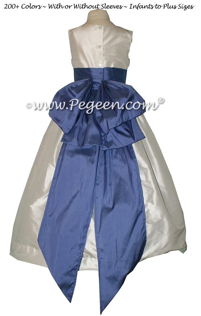 Antique White and Blueberry silk flower girl dresses