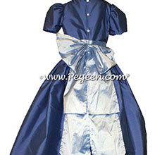 Wisteria and bright Blueberry Silk flower girl dress - Pegeen Style 345