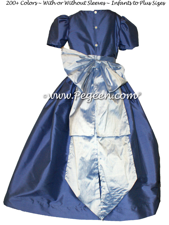 Blueberry and Wisteria silk flower girl dresses
