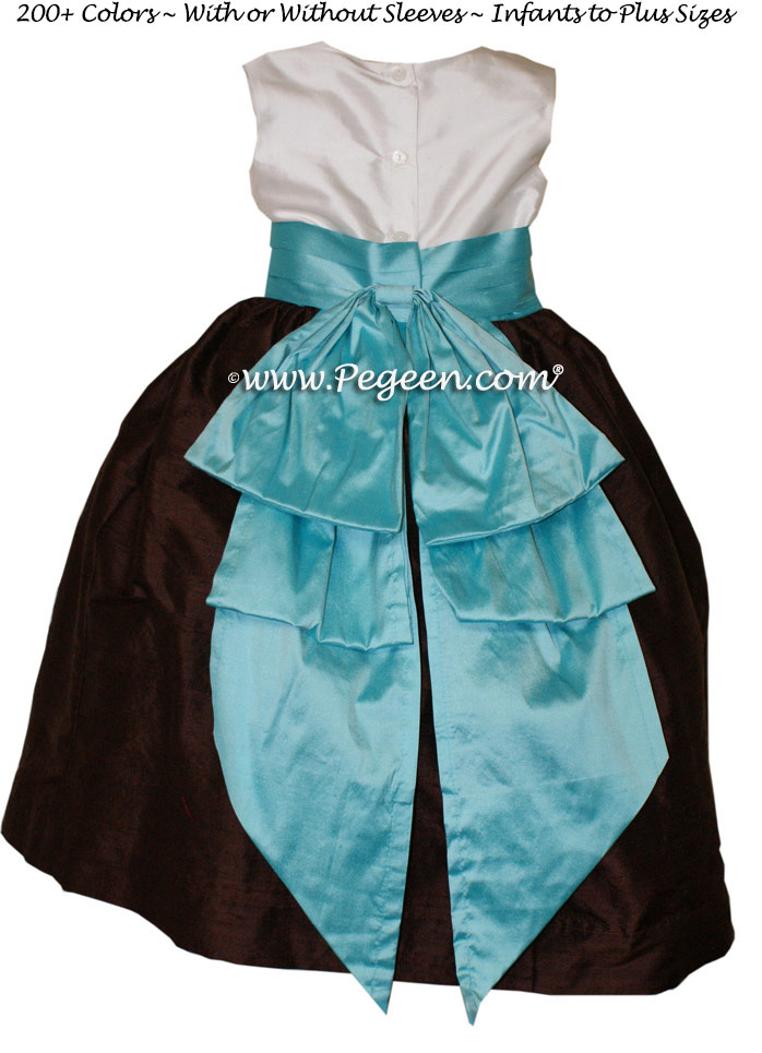 Tiffany Blue and chocolate brown Silk Flower Girl Dresses Style 345