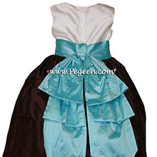 Tiffany Blue and chocolate brown Silk Flower Girl Dresses Style 345 from Pegeen
