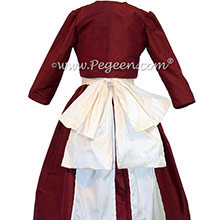 CRANBERRY AND ANTIQUE WHITE JUNIOR BRIDESMAIDS DRESSES STYLE 388 BY PEGEEN