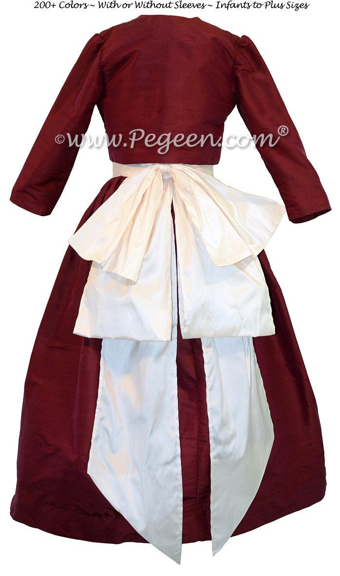 CRANBERRY AND ANTIQUE WHITE JUNIOR BRIDESMAIDS DRESSES