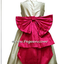 RASPBERRY AND BISQUE flower girl dresses