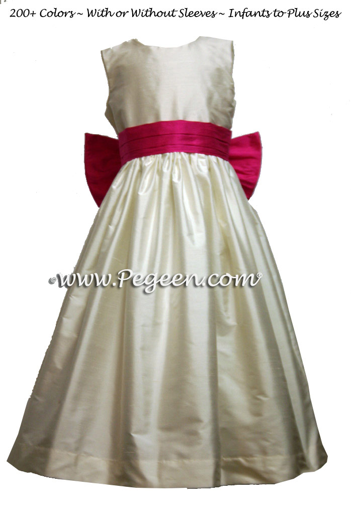 BButtercreme and Shock Hot Pink  flower girl dresses