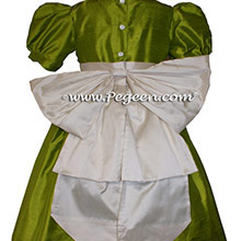 Chartruse green and ivory flower girl dress