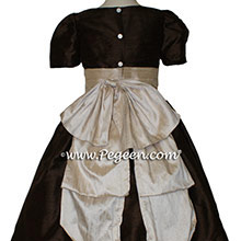 Chocolate brown and toffee cinderella bow flower girl dress