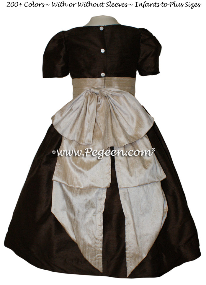 Toffee and Chocolate Brown flower girl dresses