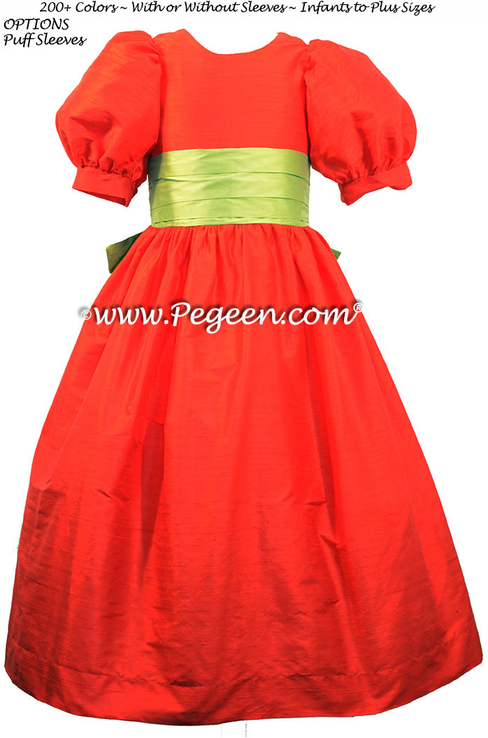 Sprite Green and Christmas Red Holiday Silk Flower Girl Dresses