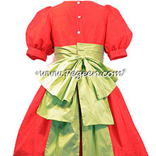 Sprite Green and christmas red silk FLOWER GIRL DRESSES
