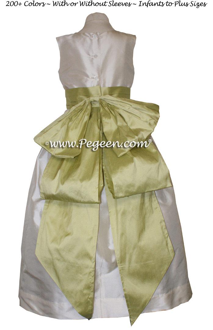 BUTTERCREME AND CITRUS SILK CUSTOM FLOWER GIRL DRESSES