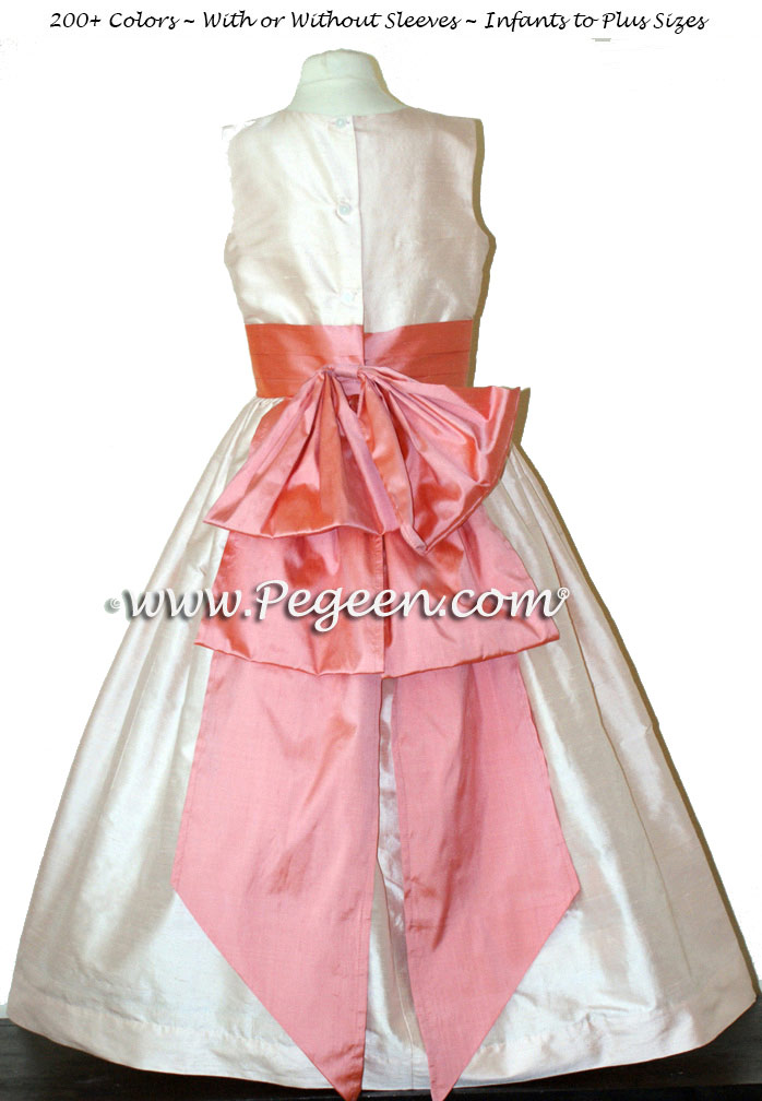 Peach and Coral Rose custom silk flower girl dresses