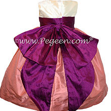 Coral Rose & Berry Silk Cinderella Style Bow FLOWER GIRL DRESSES Style 345